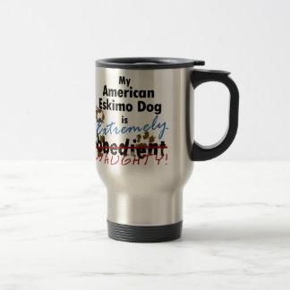 Extremely Naughty American Eskimo Dog 15 Oz Stainless Steel Travel Mug