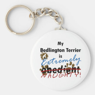 Extremely Naughty Bedlington Terrier Basic Round Button Keychain