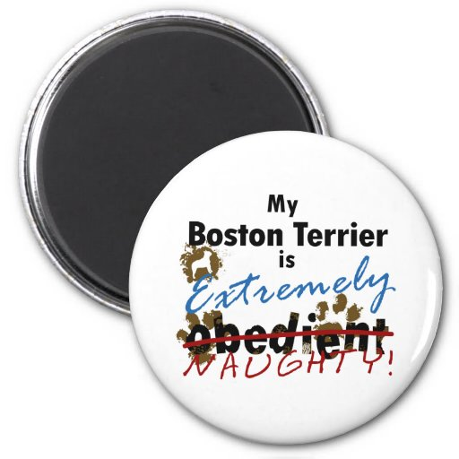 Extremely Naughty Boston Terrier 2 Inch Round Magnet