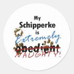 Extremely Naughty Schipperke Classic Round Sticker