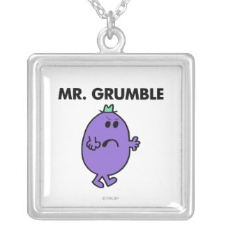 Extremely Unhappy Mr. Grumble Square Pendant Necklace
