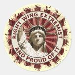 Extremista de la derecha etiqueta redonda