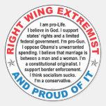 Extremista de la derecha etiquetas redondas