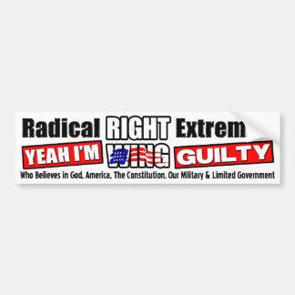 Extremista de la derecha radical pegatina de parachoque