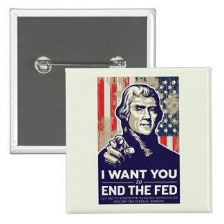 Extremo de Jefferson el FED Pin Cuadrado