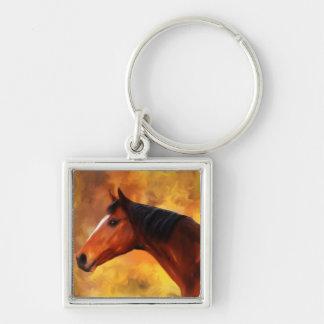 Extremo de los veranos - arte del Quarterhorse Llavero Cuadrado Plateado