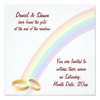 Extremo del arco iris invitación 13,3 cm x 13,3cm