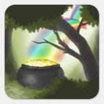 Extremo del arco iris pegatina cuadradas personalizada