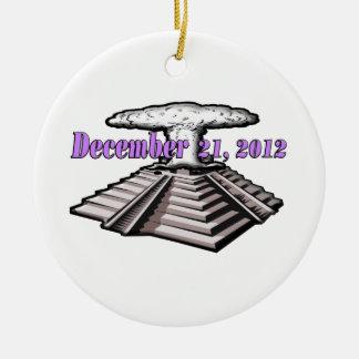 Extremo del mundo - 21 de diciembre de 2012 adorno navideño redondo de cerámica
