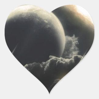 Extremo del mundo, meteorito del impacto pegatina en forma de corazón