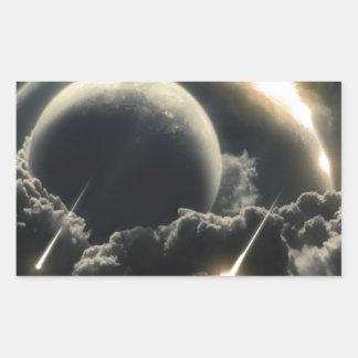 Extremo del mundo, meteorito del impacto pegatina rectangular