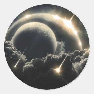 Extremo del mundo, meteorito del impacto pegatina redonda