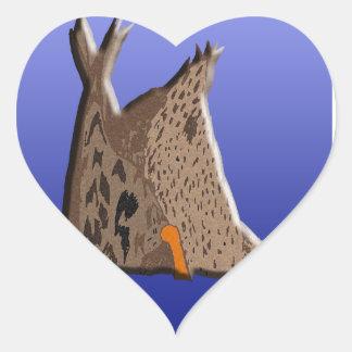 Extremo del pato pegatina en forma de corazón