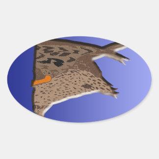 Extremo del pato pegatina ovalada