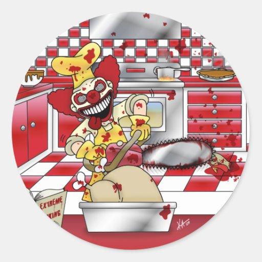 Extremo que cocina a los pegatinas pegatina redonda