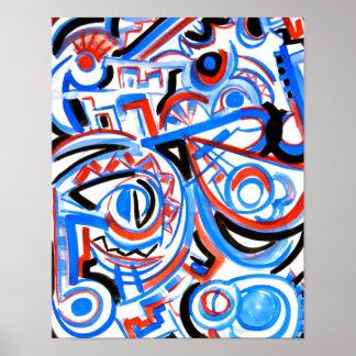 Exuberant Singing - Abstract Art Handpainted Poster