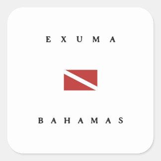Exuma Bahamas Scuba Dive Flag Square Sticker