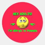 Ey adultos - pegatinas de la alergia del cacahuete pegatina redonda