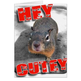 Ey ardilla divertida del cutey tarjeta de felicitación