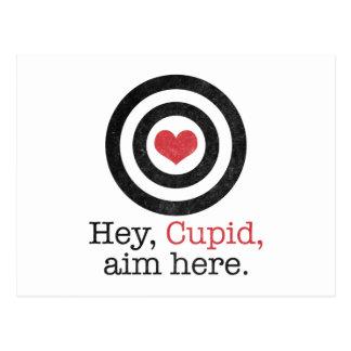 Ey del Cupid del objetivo tarjeta del día de San V Postal