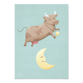 """Ey diddle diddle, la vaca saltada sobre la luna invitación 5"""" x 7"""""""