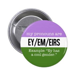 Ey/Em Pronouns –Genderqueer Flag Button