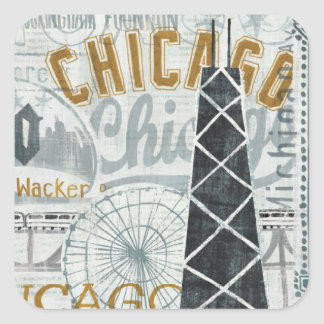 Ey vintage de Chicago Pegatina Cuadrada