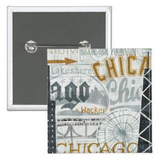 Ey vintage de Chicago Pin Cuadrado