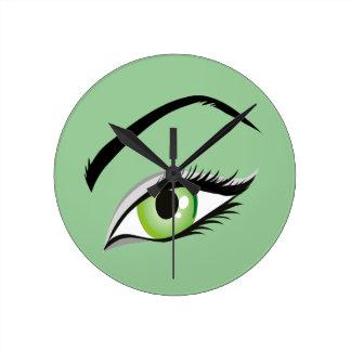 eye-149673 BEAUTY FASHION MAKEUP SALON  eye, green Round Clock