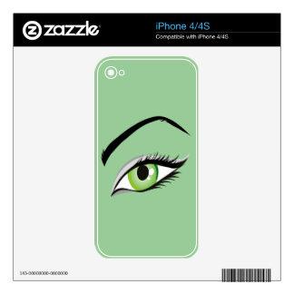 eye-149673 BEAUTY FASHION MAKEUP SALON  eye, green Skins For iPhone 4S