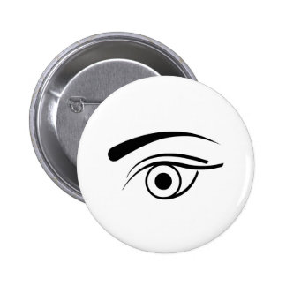 Eye and eyebrow pinback buttons