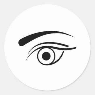 Eye and eyebrow classic round sticker