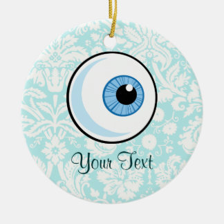 Eye Ball; Cute Double-Sided Ceramic Round Christmas Ornament
