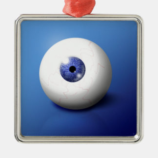 Eye Ball Square Metal Christmas Ornament