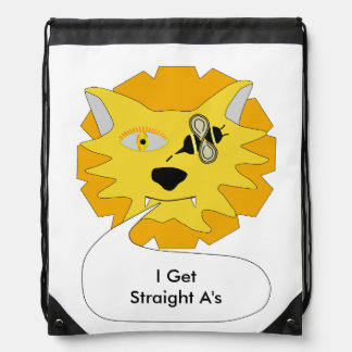 Eye Bee Lion Personalized Drawstring Bag