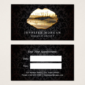 Eye Catching 3D Black Gold Lips Appointment Card