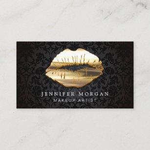 Makeup artist business cards zazzle eye catching 3d black gold lips makeup artist business card colourmoves