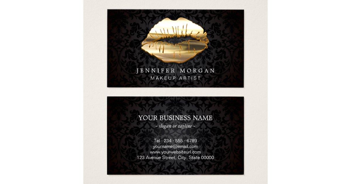 Eye catching 3d black gold lips makeup artist business for Business cards for makeup artist
