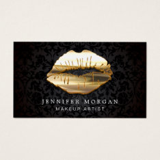 Eye Catching 3d Black Gold Lips Makeup Artist Business Card at Zazzle