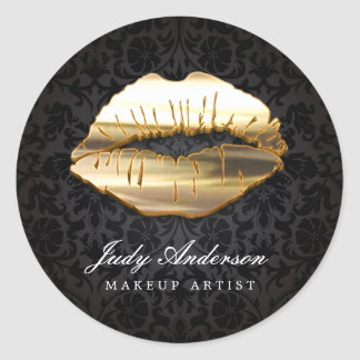 Eye Catching 3D Black Gold Lips Makeup Artist Classic Round Sticker