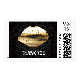 Eye Catching 3D Gold Lips Black Damask Thank You Postage