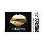 Eye Catching 3D Gold Lips Black Damask Thank You Postage Stamp