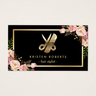 Eye Catching 3D Gold Scissors Hair Stylist Floral Business Card