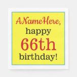 [ Thumbnail: Eye-Catching 66th Birthday Paper Napkins ]