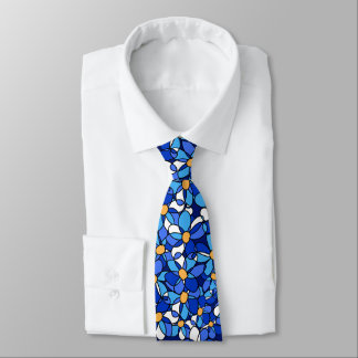 Eye-catching Colorful Blue Floral Pattern Neck Tie