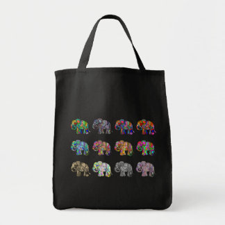 Eye-catching colorful ornamental elephant parade tote bag