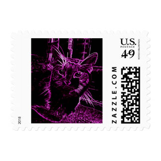 Eye Catching Purple Cat Stamp
