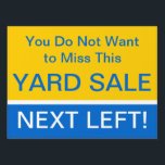 "Eye Catching Yard Sale Directions Sign<br><div class=""desc"">Make sure they don&#39;t miss your yard sale or other event.  Bright colors,  customizable text.  Bold and easy to read.</div>"