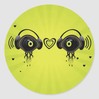 Eye characters with small hearts classic round sticker