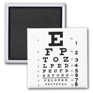 Eye Chart 2 Inch Square Magnet